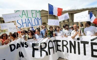 Rassemblement pour la paix à Paris - 3 août 2014 (Crédit : PIERRE ANDRIEU / AFP)