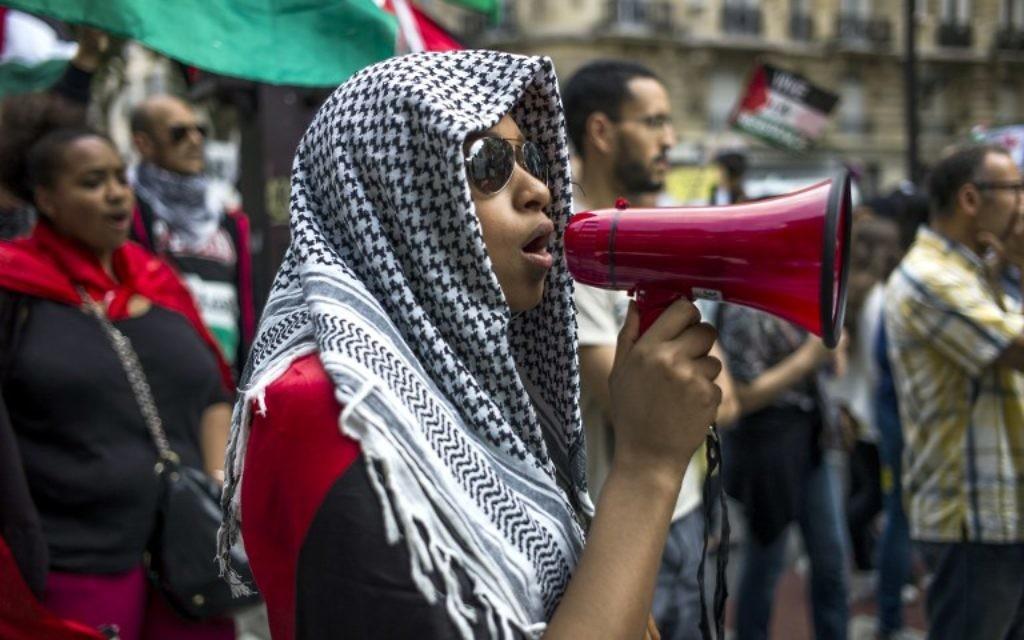 Un manifestant français lors d'une manifestation contre l'opération israélienne à Gaza à Paris - 9 août 2014 (Crédit : KENZO TRIBOUILLARD / AFP)