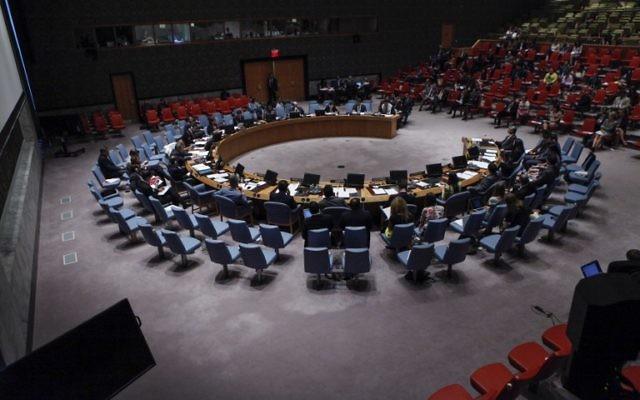 Le Conseil de sécurité des Nations unies réuni à l'ONU, à New York, le 22 juillet 2014. (Crédit : Kena Betancur/Getty Images/AFP)