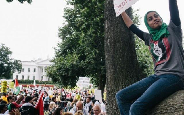 Des milliers de personnes se rassemblent à Washington pour s'opposer à l'opération Bordure protectrice - 3 août 2014 Crédit: Lexey Swall/Getty Images/AFP)