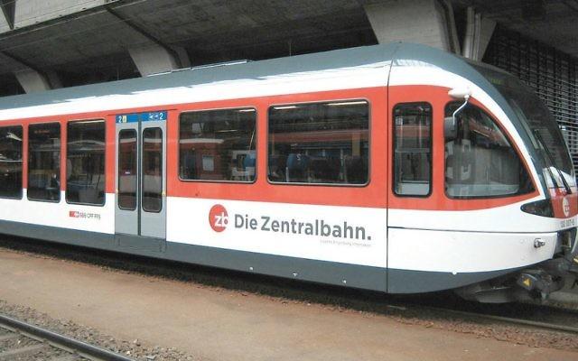 Un train de la compagnie Zentralbahn en Suisse (Crédit : CC BY SA 3.0/Wikimedia Commons/Cooper)