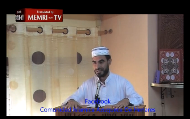 Capture d'écran MEMRI - Imam espagnol qui prononce un discours de haine contre les Juifs et les sionistes