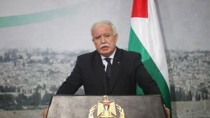 Riyad al-Maliki (Crédit :  Issam Rimawi/Flash90)