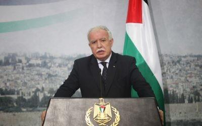 Riyad al-Maliki, ministre des Affaires étrangères de l'Autorité palestinienne. (Crédit :  Issam Rimawi/Flash90)