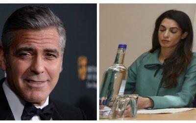 Georges Clooney au BAFTA de LA au Beverly Hilton Hotel le 9 novembre 2013. L'avocate Amal Alamudin à une conférence de presse à Londres le 5 novembre 2012 (Crédit : AFP/ Joe Klamar/ Justin Tallis)