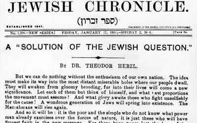 Une du JewishChronicle du 17 janvier 1896 (Crédit : Wikimedia commons/Domaine public)