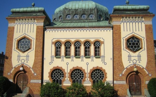 La seule synagogue de Malmö, en Suède. (Crédit : CC BY-SA/Wikimedia)