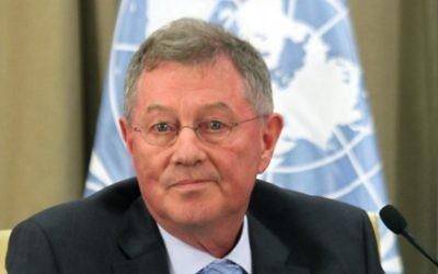 Robert Serry, coordinateur spécial des Nations unies pour le processus de paix au Moyen-Orient.(Crédit : Yoav Ari Dudkevitch/Flash90)