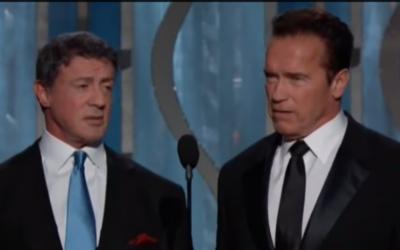 Sylvester Stallone, Arnold Schwarzenegger - 14 janvier 2013 (Crédit : capture d'écran YouTube)