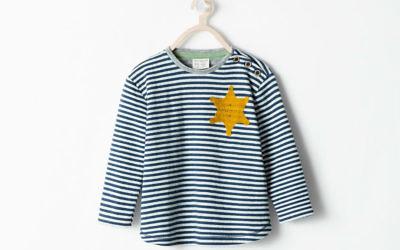 Le sweat-shirt de Zara, avec un imprimé à rayures flanqué d'une étoile jaune (Crédit : capture d'écran)