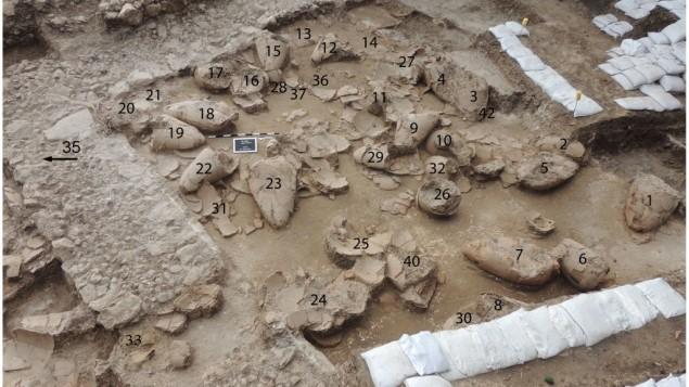 La cave à vin de Tel Kabri (Crédit : Courtoisie Assaf Yasur-Landau)