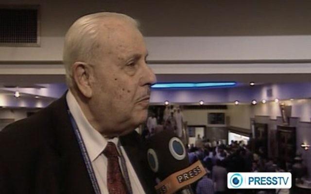 Capture d'écran de l'ambassadeur palestinien en Iran, Salah Zawawi, donnant une interview à la chaîne iranienne Press TV.