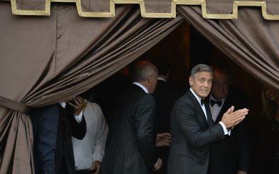 George Clooney à Venise, juste avant son mariage avec Amal Alamuddin - 27 septembre 2014 (Crédit : ANDREAS SOLARO / AFP)