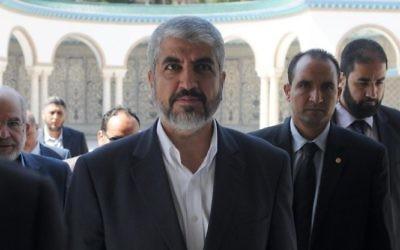 Khaled Meshaal arrive au palais présidentiel de Carthage pour rencontrer le président tunisien Moncef Marzouki - 12 septembre 2014 (Crédit : AFP/SALAH HABIBI)