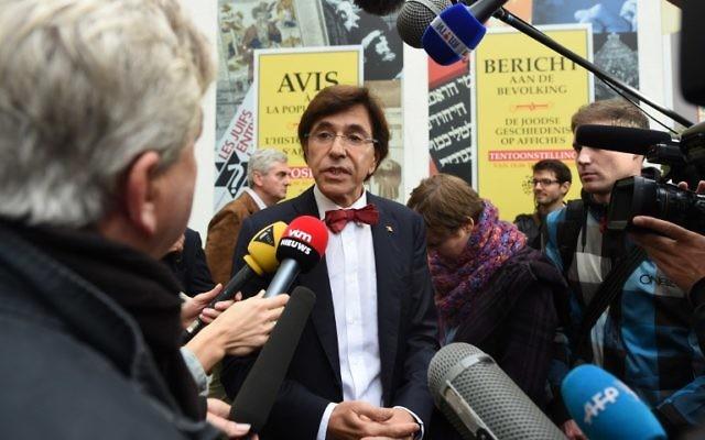 Le Premier ministre belge, Elio Di Rupo arrive pour assister à la réouverture du Musée Juif de Belgique - 14 septembre 2014, (Crédit : AFP PHOTO / EMMANUEL DUNAND)