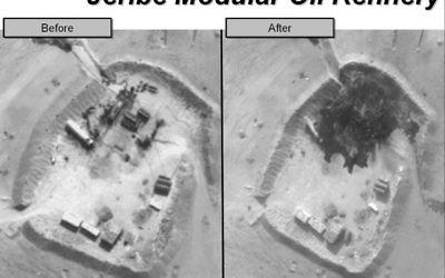La raffinerie de Jeribe avant et après le bombardement de la coalition (Crédit : US department / AFP)