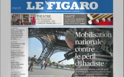 Capture d'écran de la Une du Figaro du 26 septembre 2014 (Crédit : autorisation)