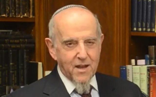 Le rabbin Haskel Lookstein (Crédit : capture d'écran YouTube)