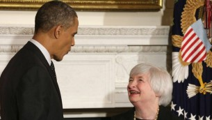 Janet Yellen et Barack Obama (Crédit : Chip Somodevilla/Getty Images/JTA)