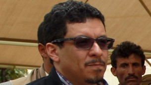 Ahmed Awad bin Mubarak, lors d'une visite au bastion rebelle chiite de Saada, le 19 septembre 2014, (Crédit : AFP / Mohammed Hu