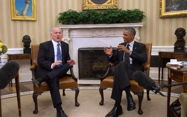 Barack Obama et Benjamin Netanyahu à la Maison Blanche le 1er octobre 2014 (Crédit photo: Jim Watson / AFP)