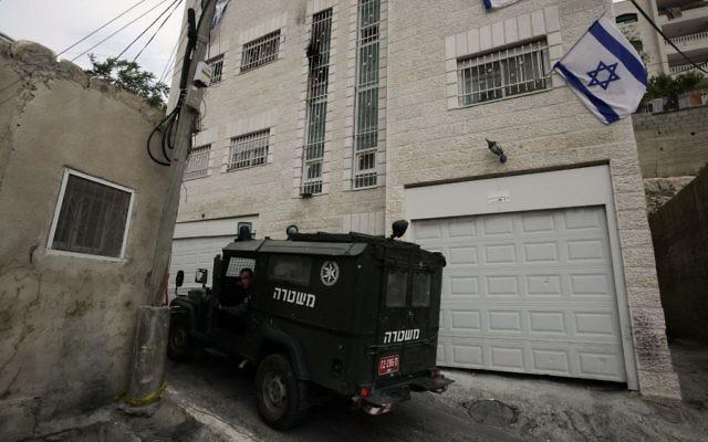 Beit Yehonatan, un immeuble acquis par Ateret Kohanim dans le quartier palestinien de Silwan (Crédit : Abir Sultan/Flash 90)
