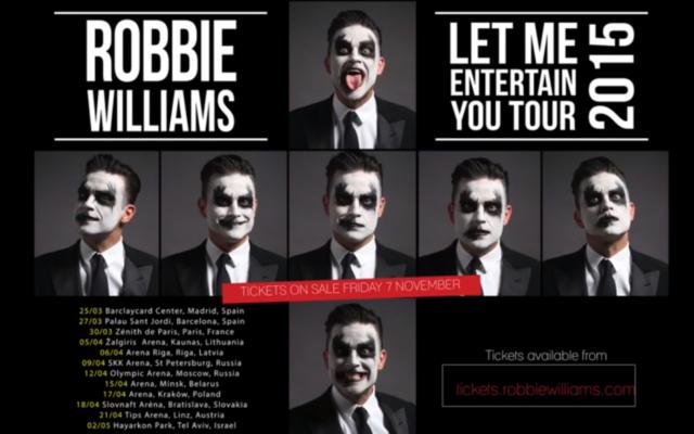 Capture d'écran de la liste des villes de la tournée de Robbie Williams (Crédit : YouTube)