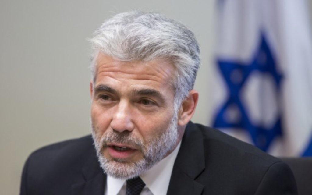 Yair Lapid (Crédit : Yonatan Sindel/Flash90)