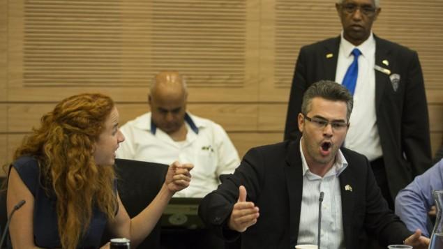 La députée travailliste Stav Shaffir (G) se disputant avec le député de Yesh Atid Boaz Toporovski lors d'une réunion de la Commison des Finances à la Knesset le 3 septembre 2014 (Crédit : Noam Revkin Fenton/Flash90)