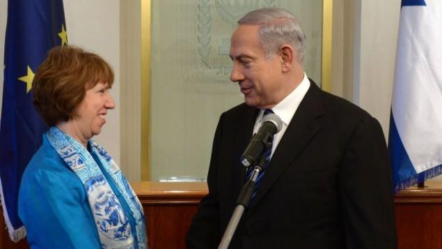 Le Premier ministre Netanyahu et Catherine Ashton (Crédit : Amos Ben Gershom/GPO/Flash90)