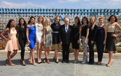 Les reines de beauté américaines à la Knesset le 2 octobre 2014 (Crédit : autorisation)