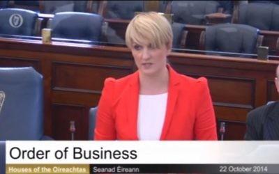Le sénatrice irlandaise Averil Puissance parlant au Sénat à Dublin, le 22 octobre 2014 (Crédit : capture d'écran YouTube)