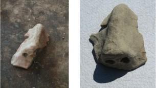 Deux masques cérémoniels en céramique, aux orbites et aux nez intacts (Crédit : Projet Tel Burna Excavation)