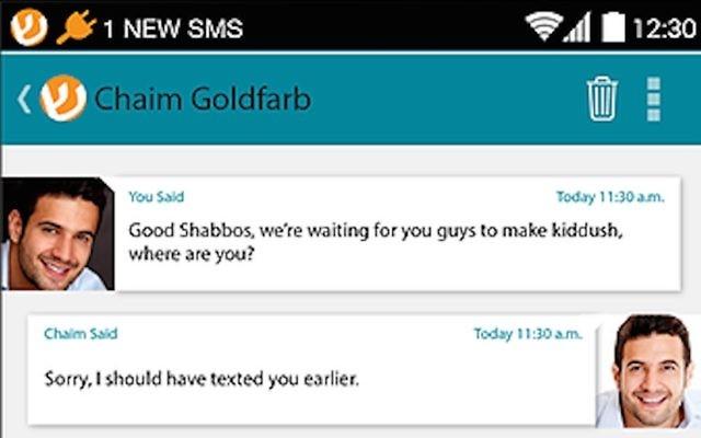 Capture d'écran de la Shabbosapp (Crédit : autorisation)