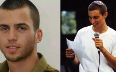 Les soldats israéliens Oron Shaul (à gauche) et Hadar Goldin (Crédit : Flash90)