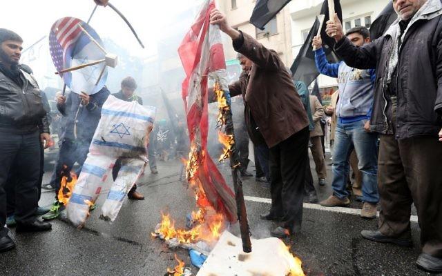 Manifestation anti-américaine et anti-israélienne en Iran - 4 novembre 2014 (Crédit : AFP PHOTO/ATTA KENARE)