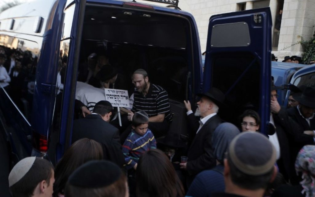 Funérailles des 4 rabbins assassinés à Har Nof (Crédit : AFP)