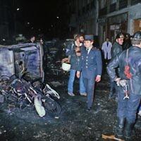 Scène de l'attentat contre la synagogue de la rue de Copernic, à Paris, en 1980. (Crédit : AFP)