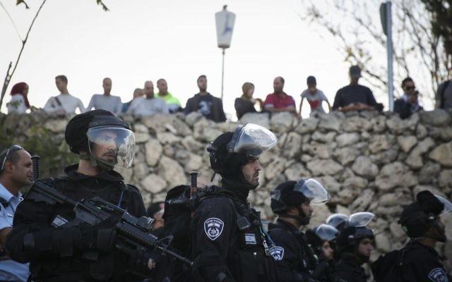 Des garde-frontières israéliens à Jérusalem-Est - 12 novembre 2014 (Crédit : Flash 90)
