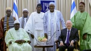Le président Reuven Rivlin rencontre une délégation d'imams du Sénégal, à la résidence du président à Jérusalem le 27 novembre, 2014. (Crédit : Mark Neyman / GPO / FLASH90)