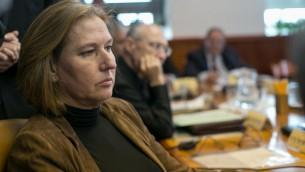 La ministre de la Justice Tzipi Livni à la réunion hebdomadaire du cabinet le 23 novembre 2014 (Crédit : Ohad Zwigenberg/POOLF/LASH90)