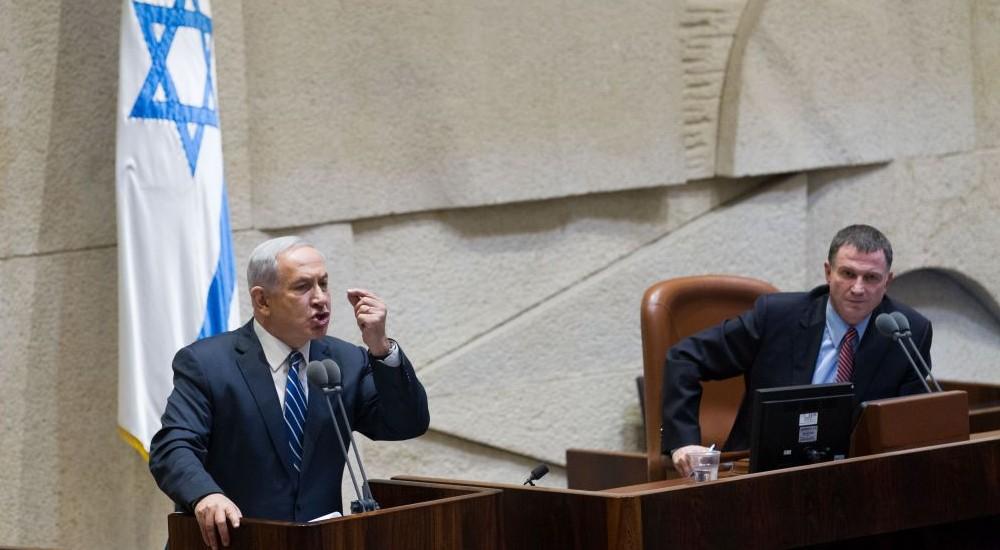Le Premier ministre Benjamin Netanyahu défend son projet de loi sur 'l'Etat juif', le 26 novembre (Crédit ; Miriam Alster/FLASH90)