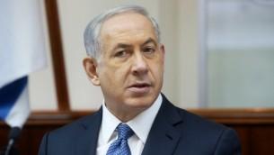 Le Premier ministre Benjamin Netanyahu dirige la réunion hebdomadaire du 22 octobre 2014 (Crédit : Marc Israel Sellem/POOL/Flash90)