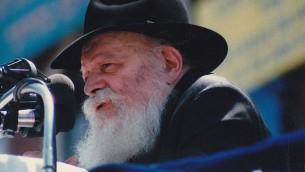 Le rabbin Menachem Mendel Schneerson (Crédit : Mordecai Baron/Wikipedia)