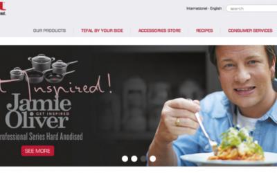 Capture d'écran du site Tefal en anglais