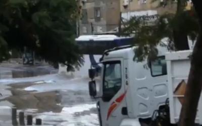 Inondations à Tel Aviv (Capture d'écran : Ynet)