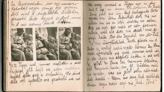 le livre d'enfant de Gudrun Himmler avec des phots d'elle et de ses parents (Crédit : Autorisation de Kino Lorber, Ltd.)