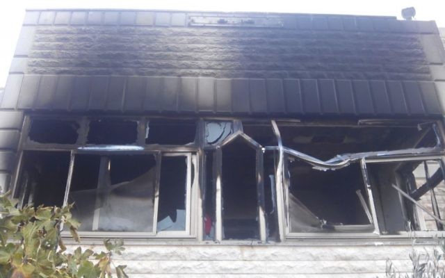 Maison incendiée à Khirbet Abu Falah le 23 novembre 2014. (Crédit : Courtesy/Rabbis for Human Rights)