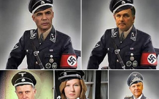 Politiciens israéliens en uniforme nazi. (Crédit : Capture d'écran)