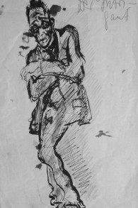 'The Intriguer' de Fritz Ascher, 1913, encre noir sur papier (crédit : collection privée)